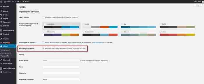 Rimuovere la barra degli strumenti di WordPress - Abilita toolbar