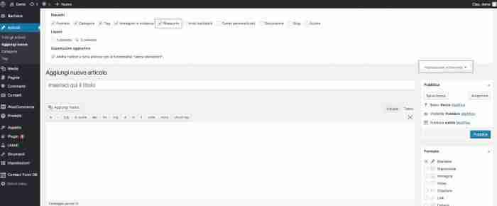 Come personalizzare l'excerpt di WordPress - Abilita riassunto