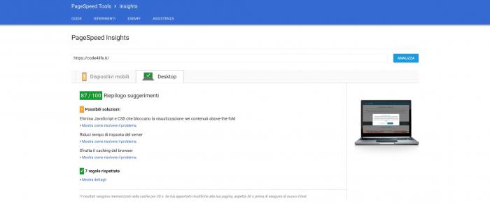 Come misurare le prestazioni del tuo sito web - PageSpeed Insights