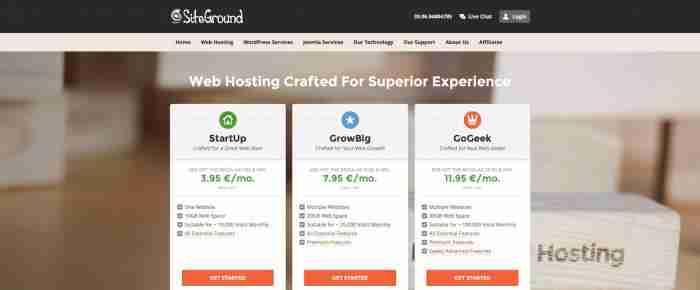Scegliere un hosting di successo: SiteGround - Piani