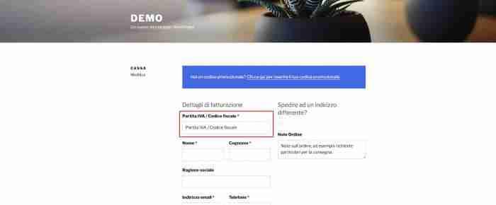 """Come personalizzare WooCommerce: il checkout - Campo """"Partita IVA / Codice fiscale"""""""