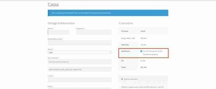 Disabilitare le altre spese di spedizione se quella gratuita è disponibile in WooCommerce - Bug?
