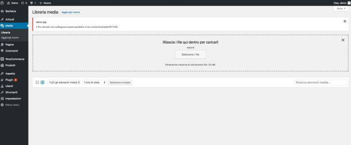 Impostare i permessi delle cartelle e dei file di WordPress - Errore upload