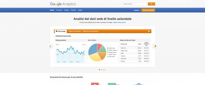 Come aggiungere Google Analytics in WordPress - Homepage