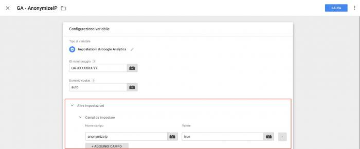Come anonimizzare Google Analytics - Tag Manager variabile
