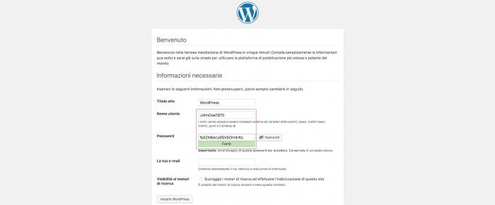 Come rendere sicuro WordPress - Username e password
