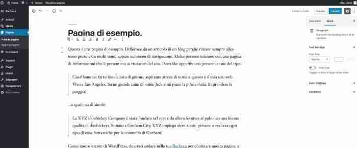 Scopri il nuovo WordPress 5.0 - Gutenberg opzioni blocchi