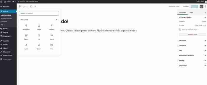 Scopri il nuovo WordPress 5.0 - Gutenberg blocchi
