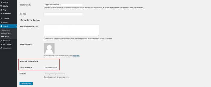 Disabilitare il cambio password in WordPress - Modifica password