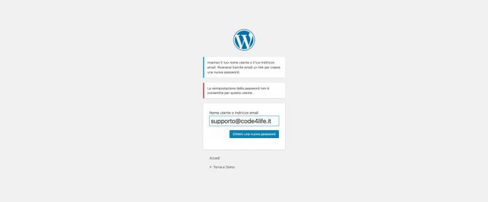 Disabilitare il cambio password in WordPress - Blocco reset password