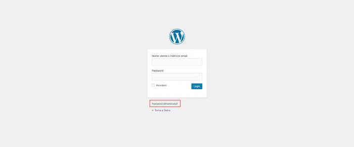 Disabilitare il cambio password in WordPress - Login